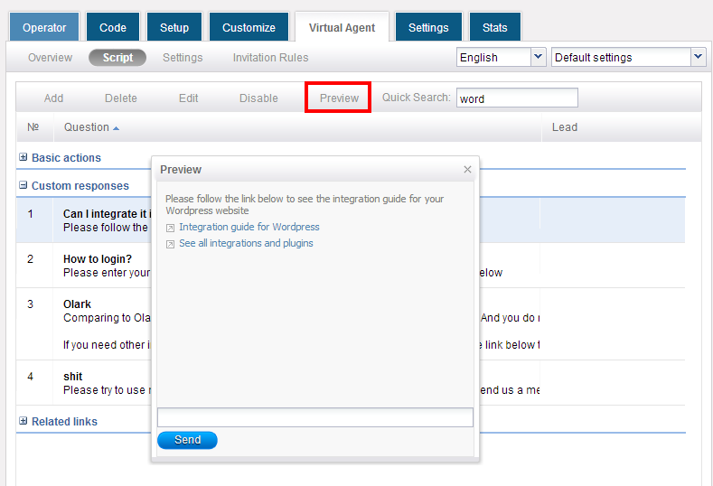 Preview virtual agent chat scripts - HelpOnClick