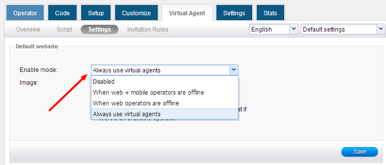 Virtual chat agent settings - HelpOnClick