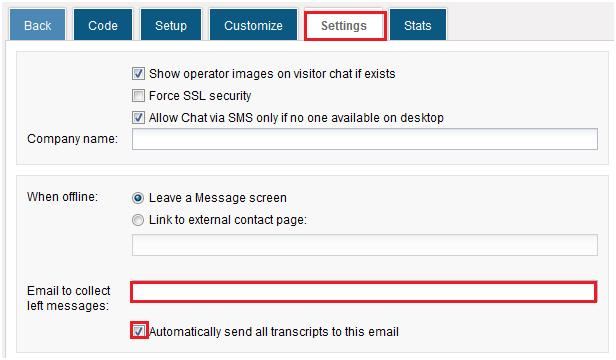 Set up email to collect left messages - HelpOnClick