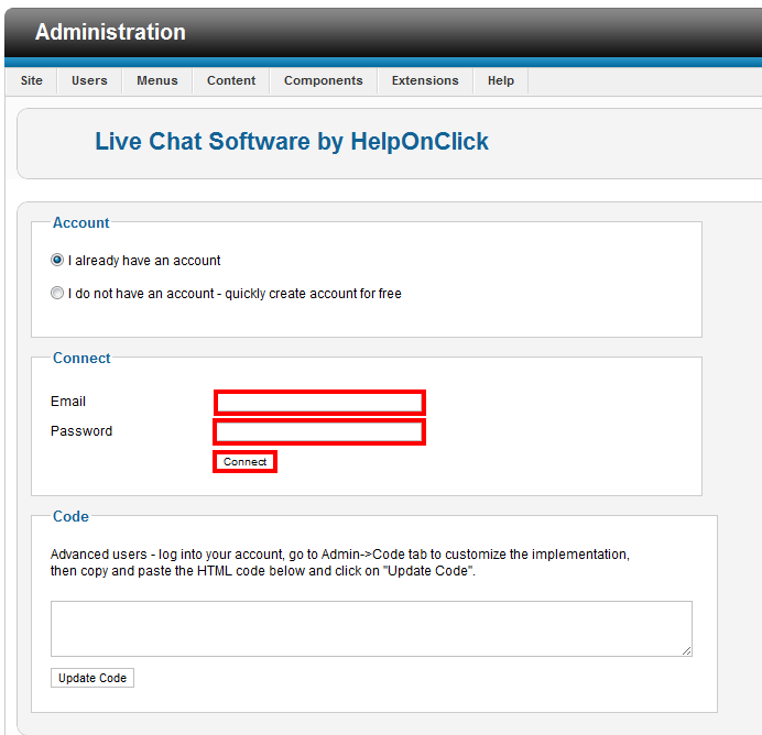 Connect your live chat account with Joomla - HelpOnClick