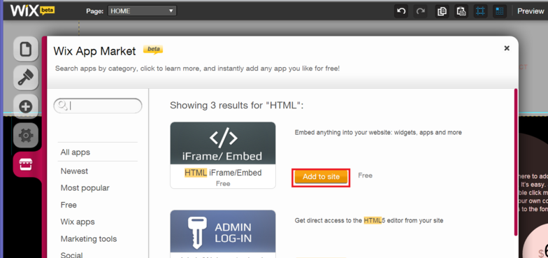 Embed live chat code to WIX website - HelpOnClick