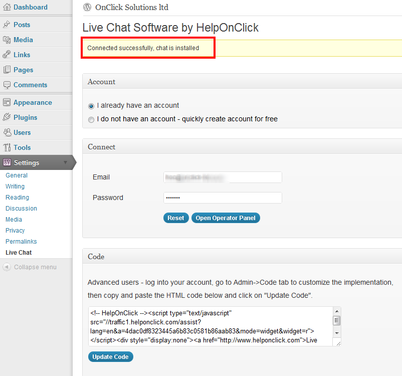 Live chat plugin for WordPress website successfully installed - HelpOnClick