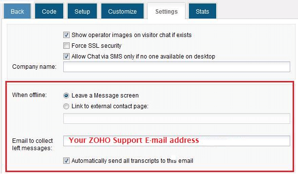 Send chat transcripts to Zoho Help Desk - HelpOnClick