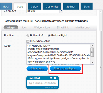 HelpOnClick live chat code