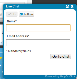 Social buttons on HelpOnClick chat window