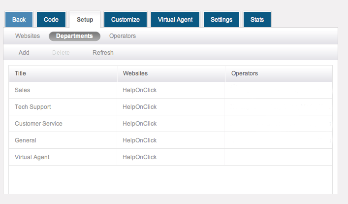 Set up departments - HelpOnClick