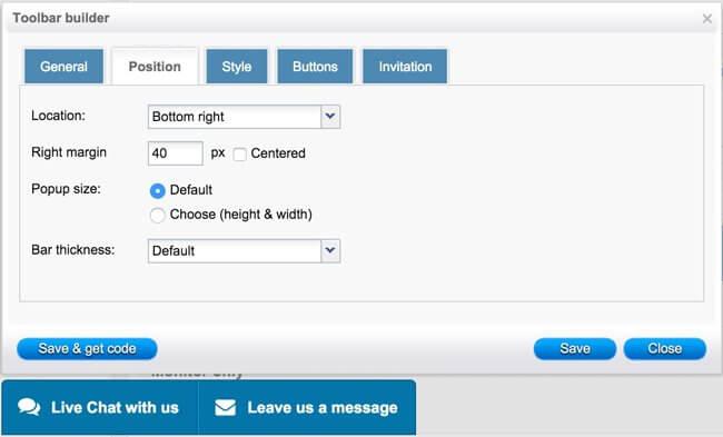 toolbar4Social chat toolbar position settings - HelpOnClick