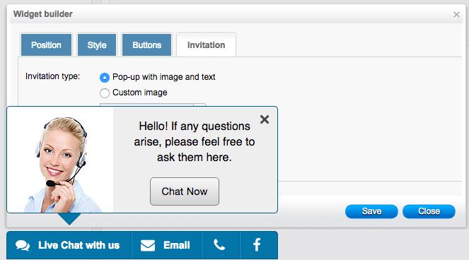 Social chat toolbar invitation setup - HelpOnClick